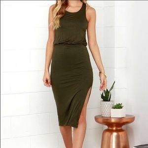 Lulu's Olive Green Midi Dress